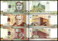 PERU Set 3 Pcs 10 20, 50  NUEVOS SOLES 2012-2016 NEW- UNC
