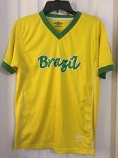 BRASIL UMBRO MENS YELLOW GREEN T-SHIRT SHORT SLEEVE SOCCER SIZE LARGE