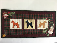 Welsh Terrier Dog Christmas Decor Fabric Quilted Wall Hanging Tartan Plaid