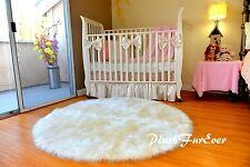 "5' or 60"" Round Area Rug OffWhite Sheepskin Shaggy Faux Fur Rugs Nursery Decor"