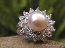 11mm White Pearl Solitaire, CZ's & 925 SOLID Silver RING (Size 8, P 1/2)