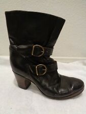 FIORENTINI + BAKER brown ankle heel buckle LEATHER BOOTS 37.5/7.5