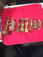 Vintage Lot Of 8 Figurines Siamese Cats Asian Pixie People Bear Man 50's To 60's