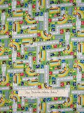 "Kids Fabric - School Bus Town Map Green C1427 - Timeless Treasures 13"""