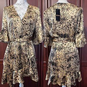 MISSPAP NWT UK 16 Frill Detail Animal Wrap Look Dress