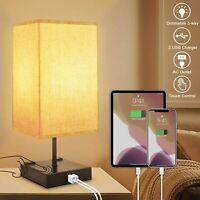 3-Way Dimmable Touch Control Table Lamp with 2 USB Charging Ports,2 AC Outlets