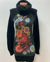 DESIGUAL Gr.S 15%WOLLE Kleid Geblümt Strickkleid MEhrfarbig LOGO Rollkragen