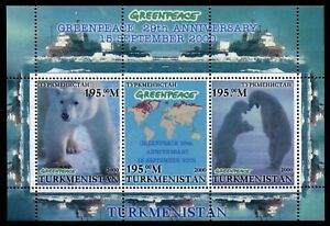 Turkmenistan Arctic Animals Stamps 2000 MNH Greenpeace Polar Bears Ships 3v M/S
