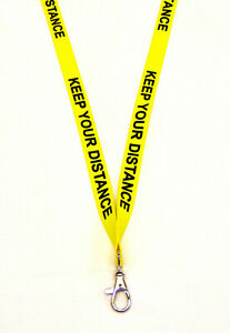KEEP YOUR DISTANCE - bright warning lanyard with safety breakaway. Free UK post