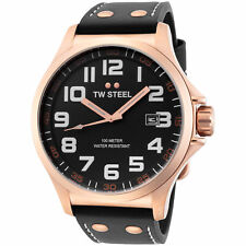 TW Steel TW417 Men's Pilot 48mm Rose Gold-Tone Black Dial Black Leather Watch