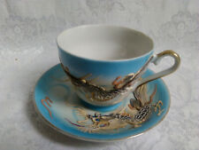 Vintage Moriage Blue Dragonware Hand Painted Cup & Saucer Made in Japan KTS