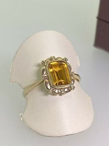 1.75ct Emerald Cut Golden Citrine Ring in 14K Yellow Gold. Russia, c1950's.