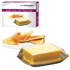 Butter Dish With Plastic Lid Tray Holder Retro Serving Storage Kitchen Serve