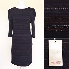 Monsoon Dress UK 18 Navy Blue Red Metallic Stripe 3/4 Sleeve Stretch Bodycon NEW