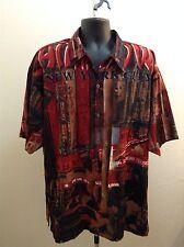 CLENCH Mens NEW YORK CITY CHINA TOWN shirt size XXLarge Red CITY SCENE SXS