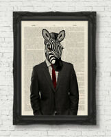 VINTAGE DICTIONARY BOOK PAGE ART PRINT ZEBRA MAN IN CLOTHES WALL ART ANIMAL