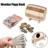 UK Wooden Piggy Bank Safe Money Box Savings Wine Barrel Wood Carving Handmade