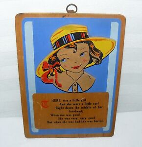 """WOOD PLAQUE WALL ART LONGFELLOW A LITTLE GIRL WITH CURL JENNY 6""""x5"""" 1939"""