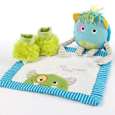 """Monster Party"" 3 Piece Baby Shower Gift Set Plush Toy, Blanket Lovie & Booties"