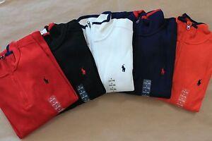 NWT Ralph Lauren Polo Boy's French Rib 100% Cotton Zip Pullover Shirt Sweater