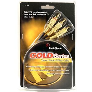 RadioShack Gold Series Stereo Audio Video Cable 24K Gold Plated 6 ft New Sealed