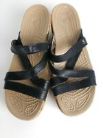 Crocs Womens Wedge Strappy Sandals Black/Beige Sz 7 EUC