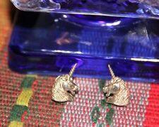 Vintage New Sterling Silver Jewelry Unicorn Head Earrings Stud Butterfly back
