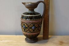 GERMAN STONEWARE JUG, BANDED WITH GOLD COLOURED RAISED FLOWERS - FREE P & P