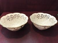 Set of 2  Beautiful Lenox  Sculpted Reticulated Floral Bowls