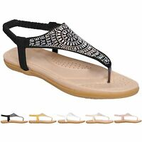 Ladies Womens Summer Ankle Strap Flat Toe Post Sparkly Sandals Shoes Size 3-8