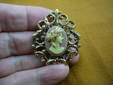 (CS24-7) ROMAN Lady ivory + mauve pink CAMEO scrolled brass Pin Pendant brooch