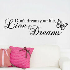 Live Your Dreams PVC Art Decal DIY Decor Quote Home Walls Stickers Removable