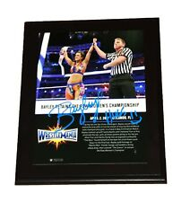 WWE BAYLEY WRESTLEMANIA HAND SIGNED AUTOGRAPHED 10X13 FRAMED PLAQUE WITH COA