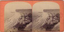 Fécamp La Plage France Stéréo Vintage albumine ca 1870