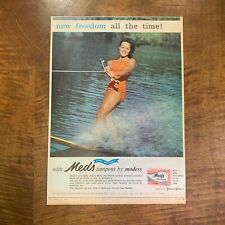 VINTAGE 1963 'MEDS TAMPONS' WATERSKIING BEAUTY MAGAZINE ADVERTISEMENT PRINT