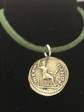 """Denarius Of Tiberius Coin WC60 Fine English Pewter On a 18"""" Green Cord Necklace"""