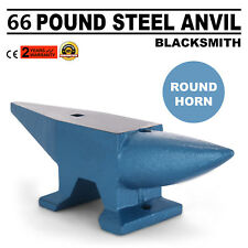 Round Horn 66 LB Blacksmith Forged Steel Anvil Solid Metal Work Heat treated