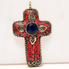 """Handmade Gold Plated Tibetan Pendant 3"""" Tanzanite, Red Coral & Blue Turquoise"""
