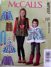 CAPE*JACKET*VEST*SCARF McCall's Pattern 7237 NEW Size Childs/Girls 3-4-5-6