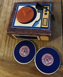 Vintage Barbie Doll Dream house Record Player & Records