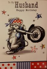 HUSBAND birthday card - bear on his motorbike theme