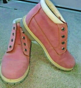 Timberland Nellie Chukka Pink Suede Leather Pink Stitch Boots Womens Size 9.5 M