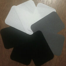 BIRCH IRON ON MENDERS 8 PATCHES REPAIR PATCH MENDING FABRIC X 8 WHITE BLACK GREY