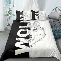 Linen King/Single/Double/Queen Bed Quilt Doona Duvet Cover Set Wolf Black/White