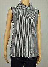 INC Womens Black White Sleeveless Mock Neck Striped Sweater XL