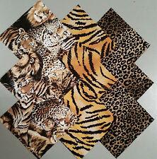 """36 Collage of Safari Cats 4"""" Fabric Quilting Squares"""