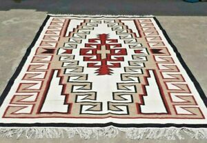 SOUTHWESTERN Wool Navajo Kilim Rug 6x9 ft Handmade Red Grey CAUCASIAN STYLE