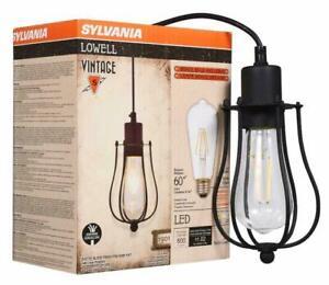 Sylvania Lowell Vintage 1901 Series Caged Industrial Light Fixture & Led Bulb
