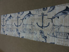 Fishing boat sea horse sword fish anchor beige blue craft sewing remnant fabric