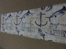 Barco de pesca Mar Caballo Espada Pescado Ancla Beige Tela Remanente De Coser Azul Craft